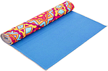 Килимок (мат) для йоги та фітнесу   PVC+замша 173*61*3 мм рожевий ,чехол у подарунок, фото 3