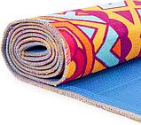 Килимок (мат) для йоги та фітнесу   PVC+замша 173*61*3 мм рожевий ,чехол у подарунок, фото 4