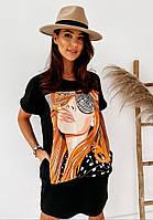 Яркое модное летнее женское платье с рисунком - накаткой, черный. SM - 221, фото 1