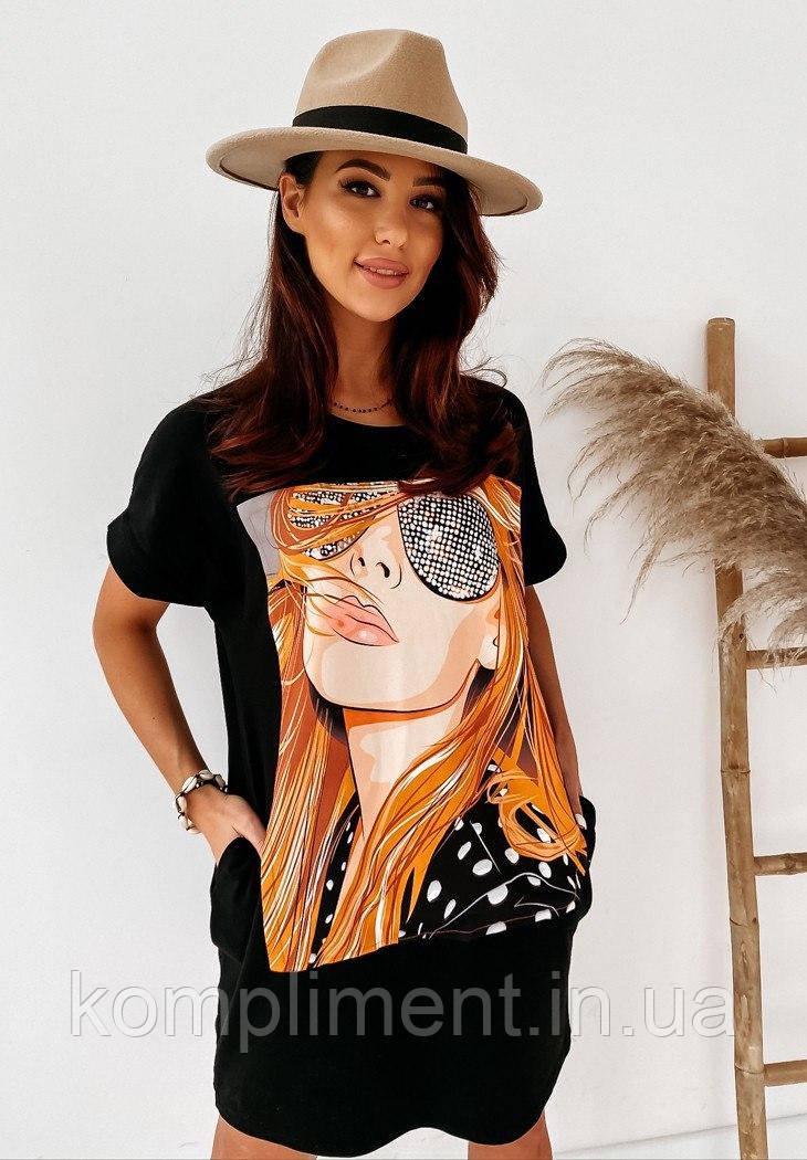 Яркое модное летнее женское платье с рисунком - накаткой, черный. SM - 221