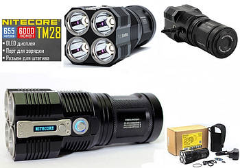 Мощный поисковый фонарь NITECORE TM28 (6000LM, OLED, Cree XHP HI, 4 LED) Tiny Monster