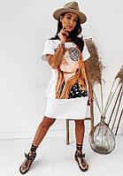 Яскраве модне літнє жіноче плаття-туніка з малюнком - накаткою, білий. SM - 221