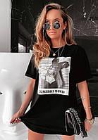 Яскраве модне літнє жіноче плаття з малюнком - накаткою, чорний. SM - 222