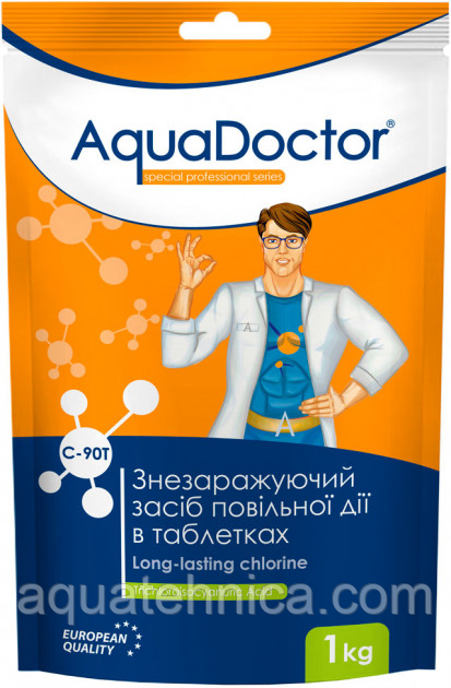 Повільнорозчинний хлор для басейну Aquadoctor С90-Т, таблетки по 200 гр, 1 кг