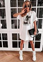 Яскраве модне літнє жіноче плаття з малюнком - накаткою, білий. SM - 222