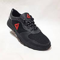 46 р. Летние мужские кроссовки (Больших размеров) сетка со вставками кожи черные Последняя пара