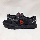 46 р. Летние мужские кроссовки (Больших размеров) сетка со вставками кожи черные Последняя пара, фото 6