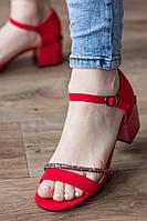 Босоножки женские замшевые красные Jazzy