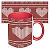 Чашка с принтом 64105 Вязаное сердце (красная)