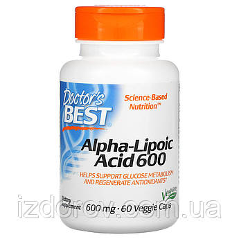 Doctor's Best, Альфа-Липоевая кислота 600 мг, Alpha-Lipoic-Acid, 60 капсул