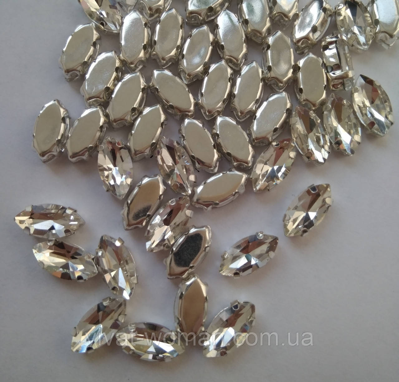 Стрази в цапах, Лодочка 6х12 мм, Crystal, скло, срібна оправа. Ціна за 1 шт