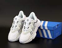 Кроссовки Адидас Озвиго белые женские кожаные весенние-летние, Adidas Ozweego White подростковые