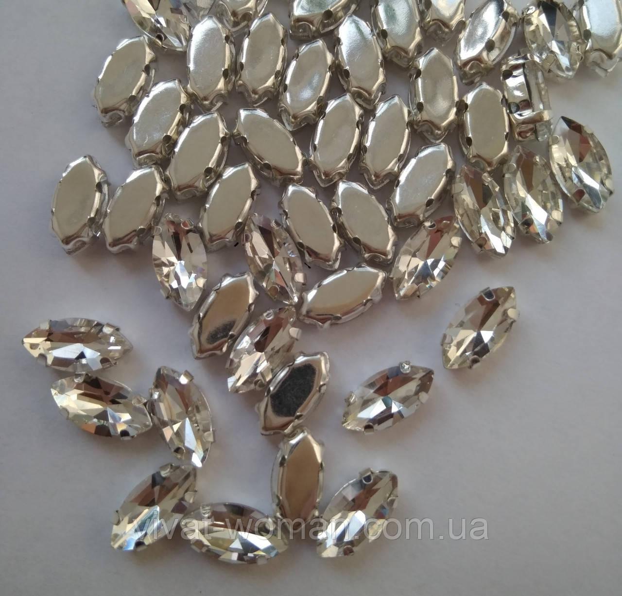 Стразы в цапах, Лодочка 7х15 мм, Crystal, стекло, серебряная оправа. Цена за 1 шт