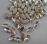 Стразы в цапах, Лодочка 7х15 мм, Crystal, стекло, серебряная оправа. Цена за 1 шт, фото 1