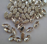 Стразы в цапах, Лодочка 9х18 мм, Crystal, стекло, серебряная оправа. Цена за 1 шт, фото 1