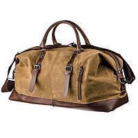 Дорожная сумка текстильная большая Vintage 20168 Песочная