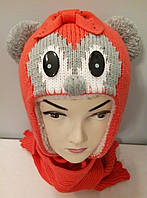 Комплект вязаный шапка шарф девочка.