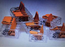 Клема 3-конт д/розпод коробок, підключ.люстр, світильн, 0,5-6мм2, прозора WAGO