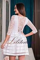 Коктейльное платье с пышной юбкой белый