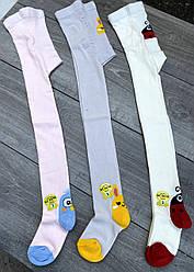 Дитячі колготи бавовна KBS з малюнком ведмедика для дівчаток 0 років 6 шт в уп мікс із 2х кольорів