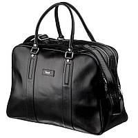Деловая мужская дорожная сумка гладкая кожа KARYA 17385 Черная