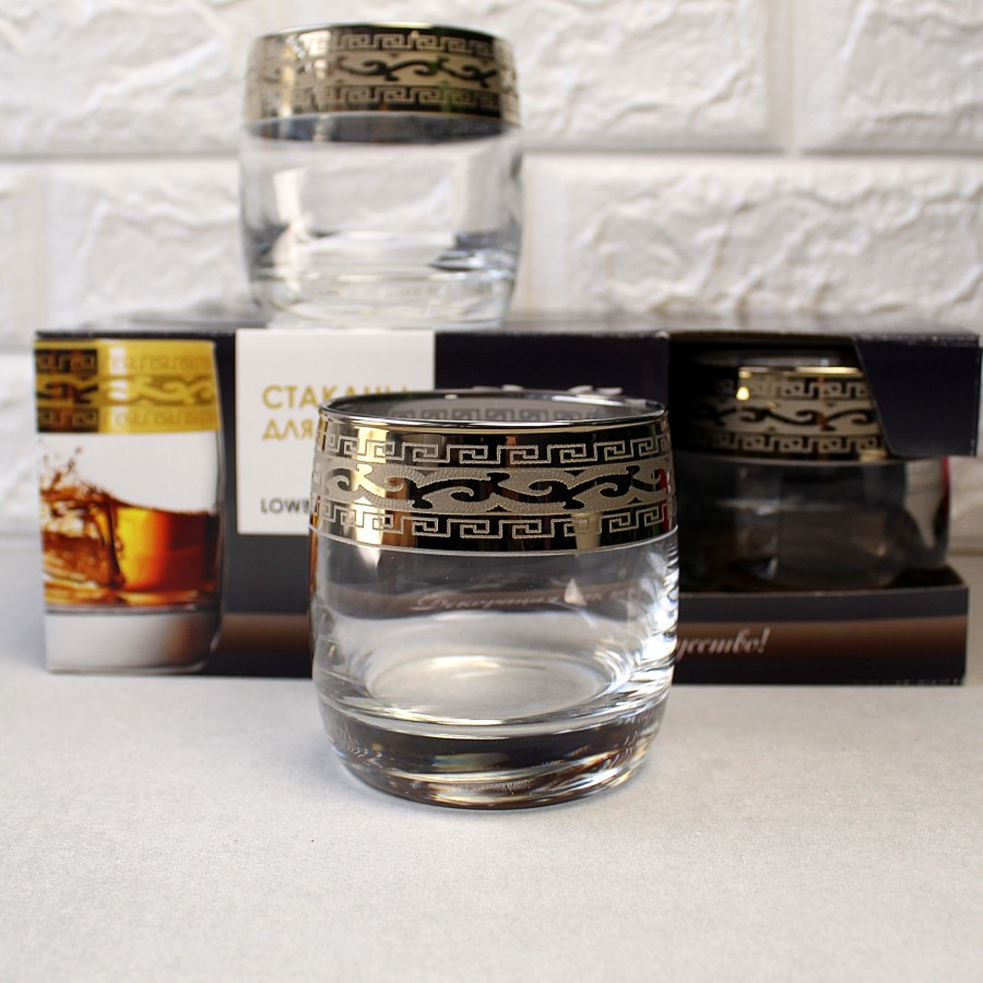 "Набір склянок 310 мл для віскі GE08-808 малюнок ""Версаче"" 6 шт."