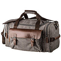 Дорожная сумка текстильная с карманом Vintage 20191 Серая