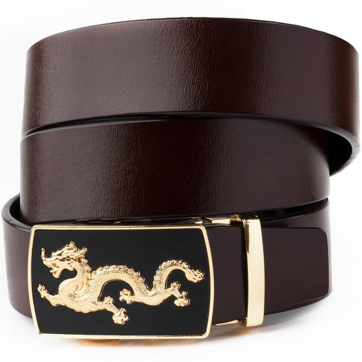 Ремінь чоловічий золотий дракон Vintage 20259 Коричневий