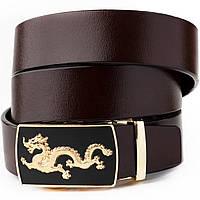 Ремінь чоловічий золотий дракон Vintage 20259 Коричневий, фото 1