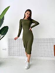 Женское трикотажное платье-миди,цвет хаки