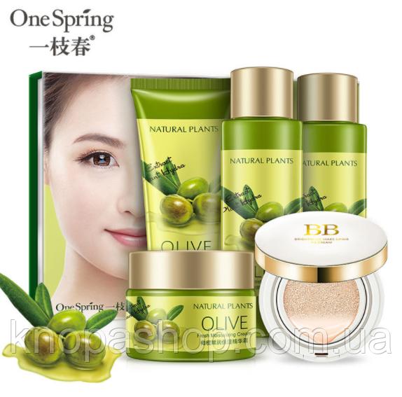 Набір оливка в коробці з 5 одиниць: 4средства + кушон One spring