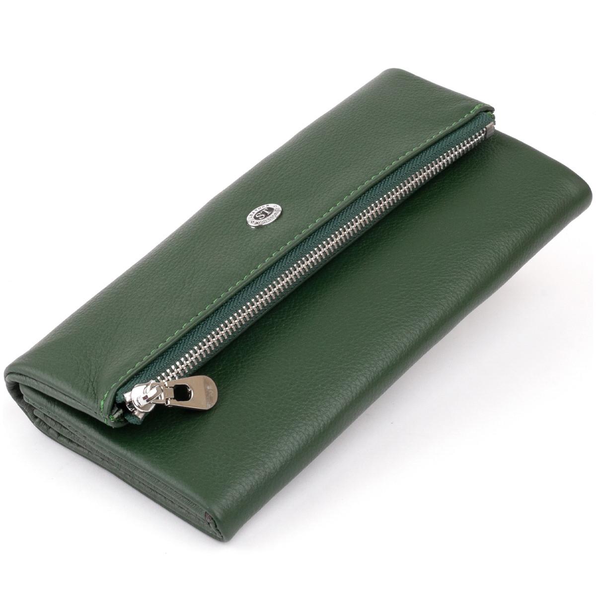 Клатч конверт з кишенею для мобільного шкіряний жіночий ST Leather 19270 Зелений
