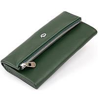 Клатч конверт з кишенею для мобільного шкіряний жіночий ST Leather 19270 Зелений, фото 1