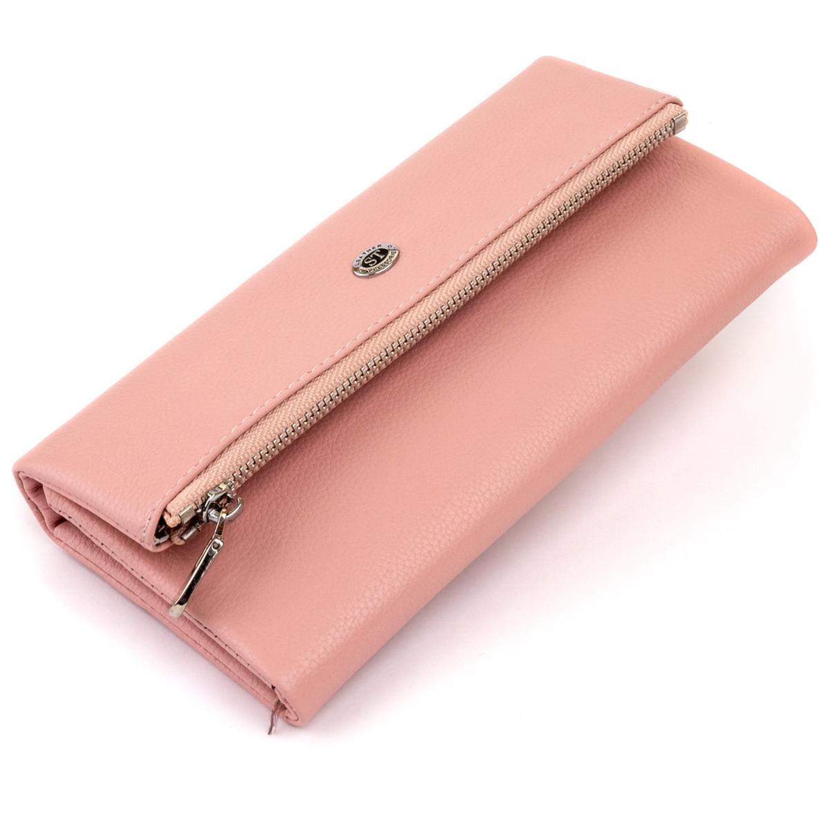 Клатч конверт з кишенею для мобільного шкіряний жіночий ST Leather 19271 Рожевий
