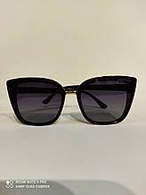 Очки женские солнцезащитные Jimmy Choo (реплика) с поляризацией и градиентом, черные, кошечки