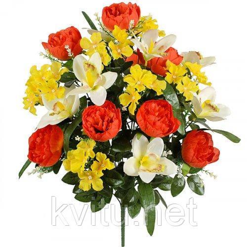Искусственные цветы букет композиция орхидеи с пионами и геранью, 61см
