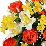 Искусственные цветы букет композиция орхидеи с пионами и геранью, 61см, фото 2