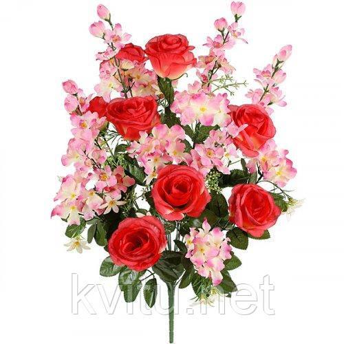 Искусственные цветы букет композиция розы с гладиолусом и геранью, 69см