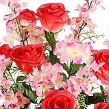 Искусственные цветы букет композиция розы с гладиолусом и геранью, 69см, фото 2