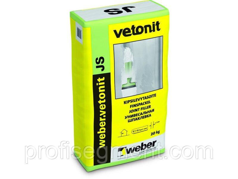 Шпаклівка для заповнення швів weber.vetonit JS, 20кг