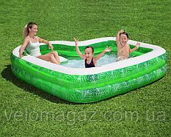 """Детский надувной бассейн 231*231*51 см, """"Тропический рай"""", сидение и подстаканник, Bestway 54436"""