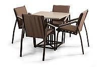 """Комплект садових меблів """"Парма"""" стіл (80*80) + 2 стільця Венге, фото 1"""