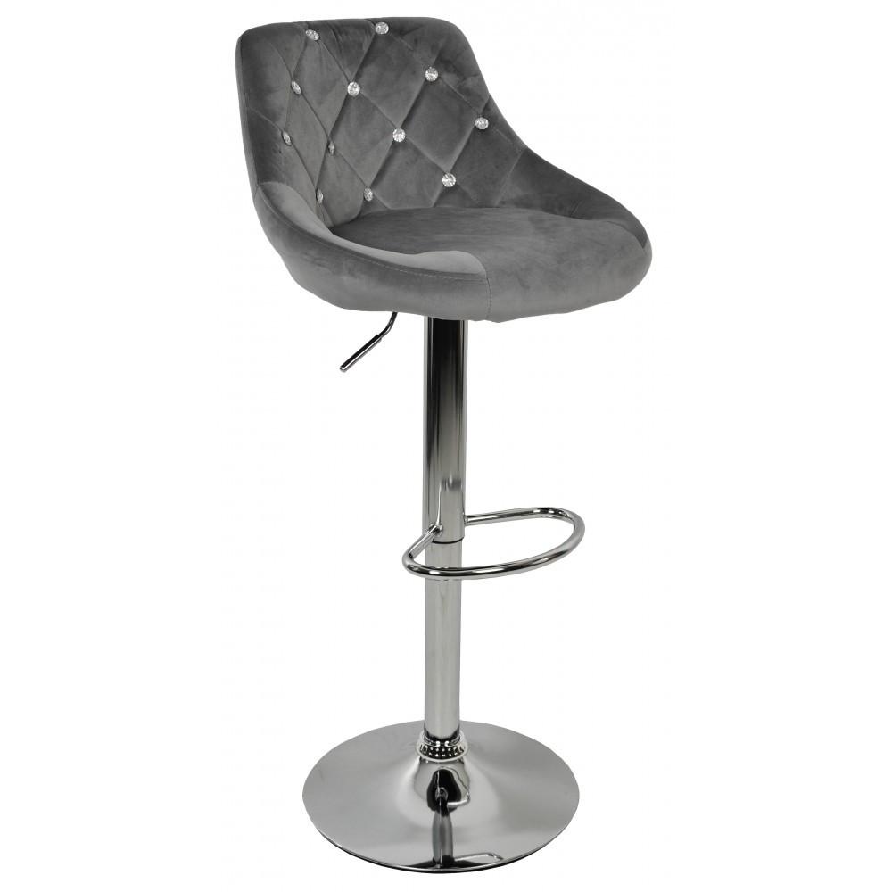 Барний стілець хокер з ніжкою із хромованої сталі навантаження до 120 кг м'який оксамит - сірий велюр