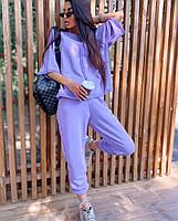 Стильный женский спортивный костюм  с рукавами три четверти и штанами на манжетах (Норма и батал), фото 4