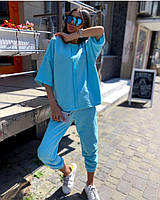 Стильный женский спортивный костюм  с рукавами три четверти и штанами на манжетах (Норма и батал), фото 6