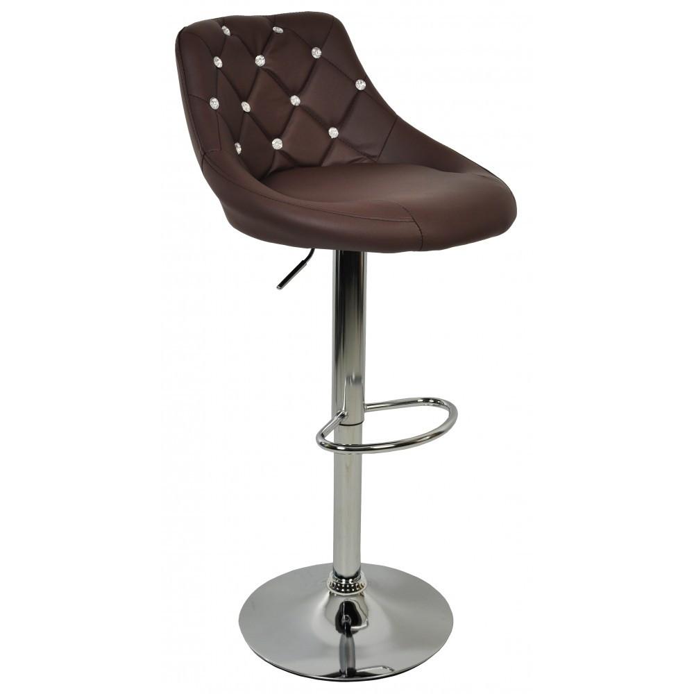Барний стілець хокер з ніжкою із хромованої сталі навантаження до 120 кг м'який коричневий екошкіра