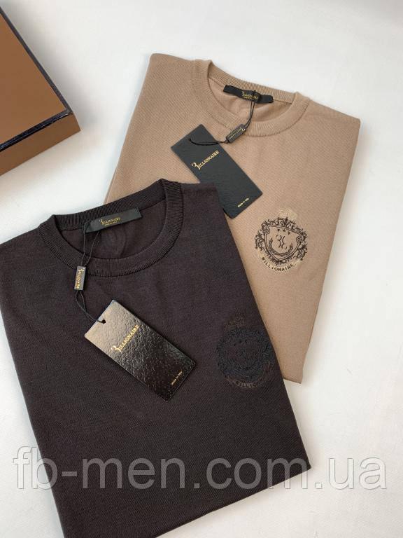 Мужская футболка Billionaire темно-коричневого цвета с логотипом   Майка Биллионер хлопок мужская