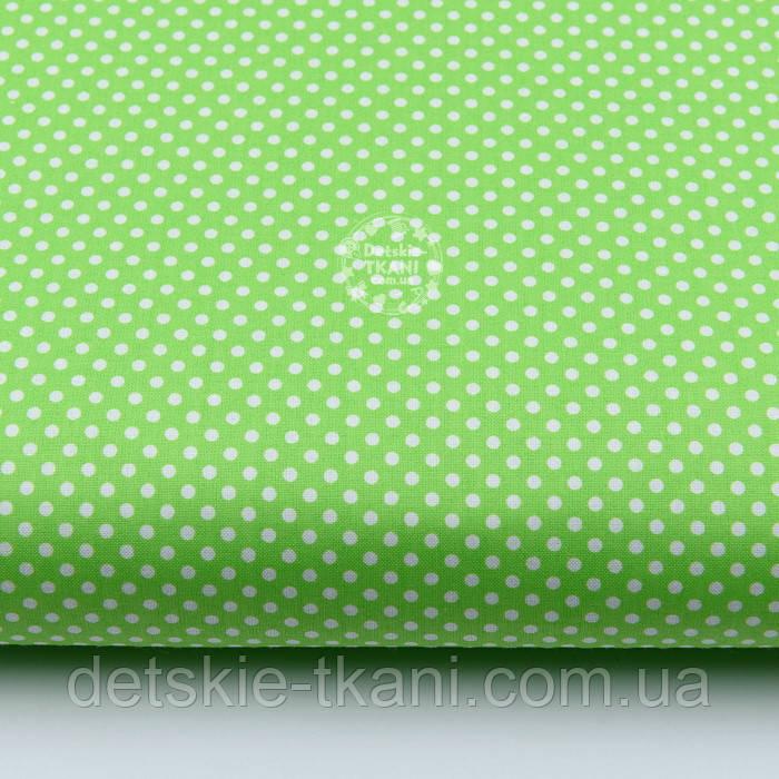 """Лоскут ткани """"Пунктирный горошек"""" белый на салатовом (№1921), размер 54*54 см"""