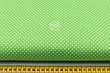 """Лоскут ткани """"Пунктирный горошек"""" белый на салатовом (№1921), размер 54*54 см, фото 2"""