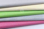 """Лоскут ткани """"Пунктирный горошек"""" белый на салатовом (№1921), размер 54*54 см, фото 5"""